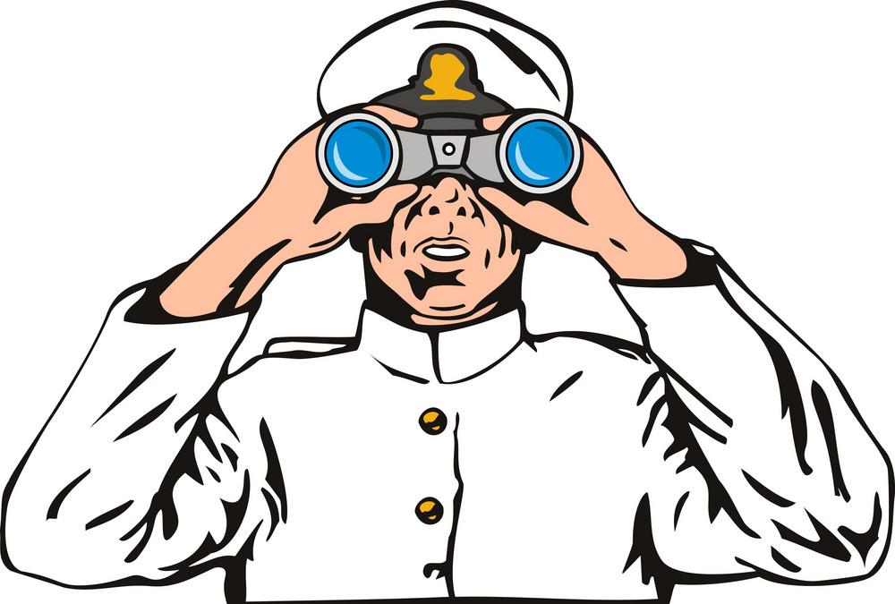 Navy Captain Sailor With Binoculars
