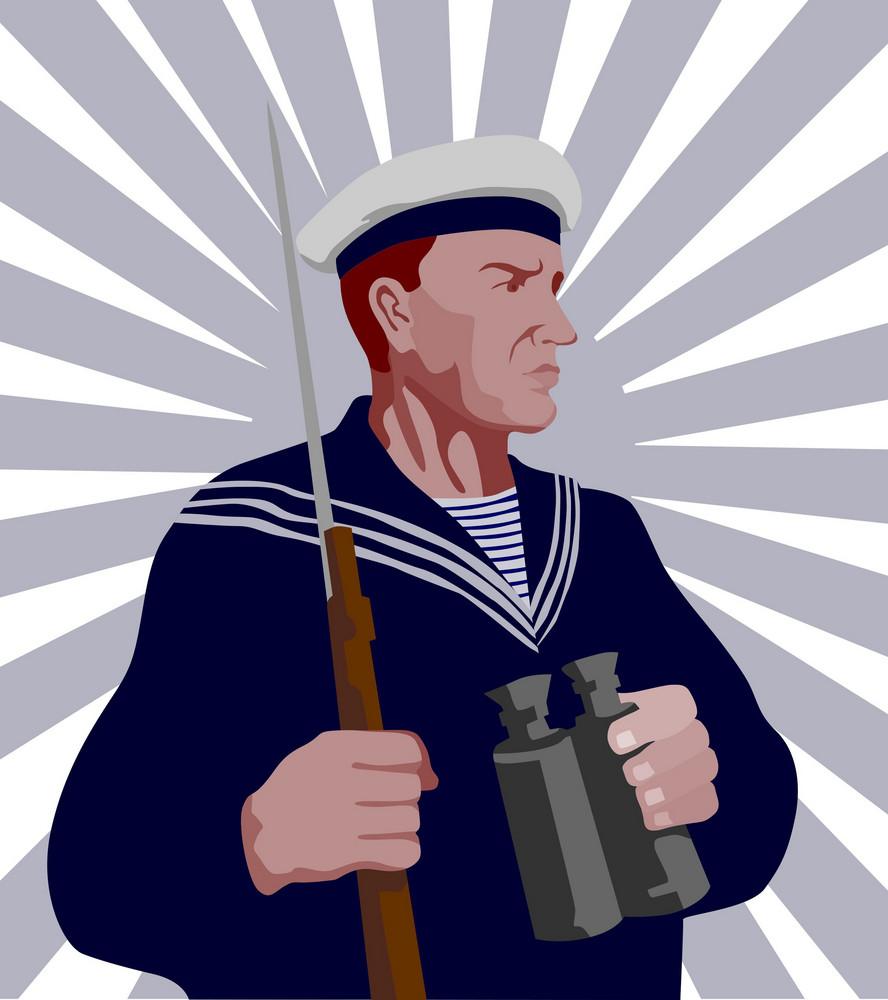 Navy Sailor Rifle Binoculars Retro