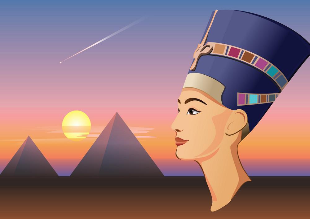 Nefertiti And Giza Vector