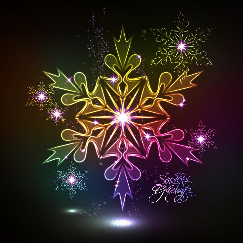 Neon Snowflakes Glowing In The Dark