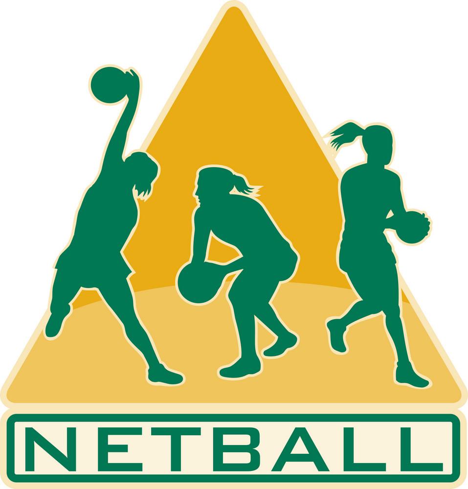 Netball Player Catching Jumping Passing Ball