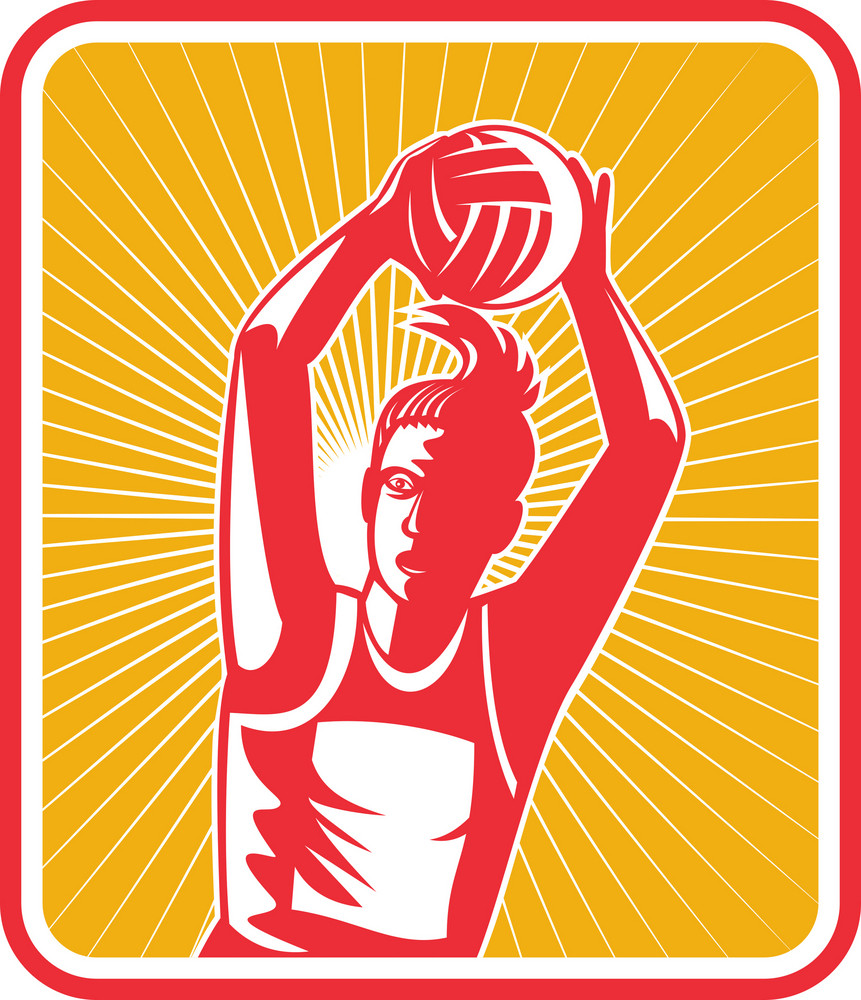Netball Player Catching Or Passing Ball