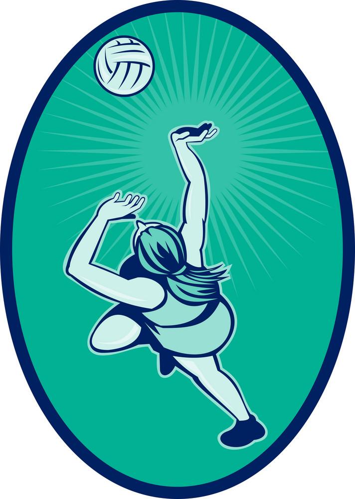Netball Player Rebounding Jumping For Bal