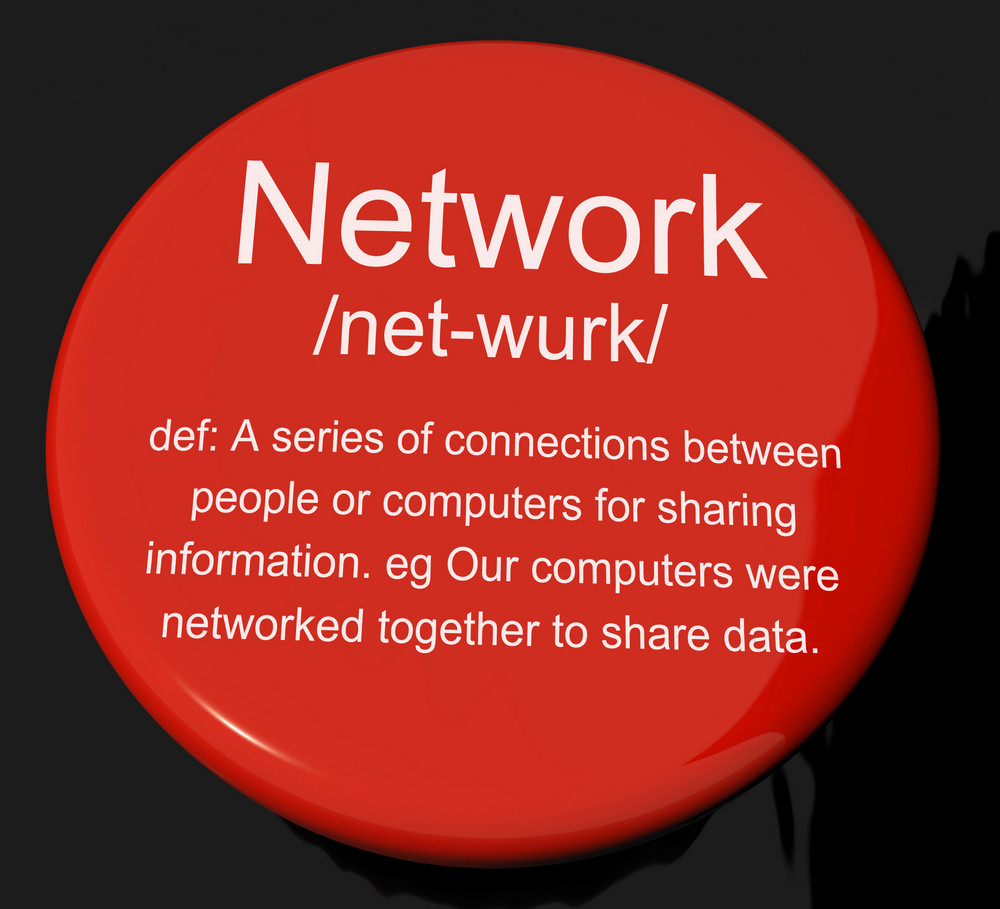 Network Definition Button Showing System Of Computers Or People Connected