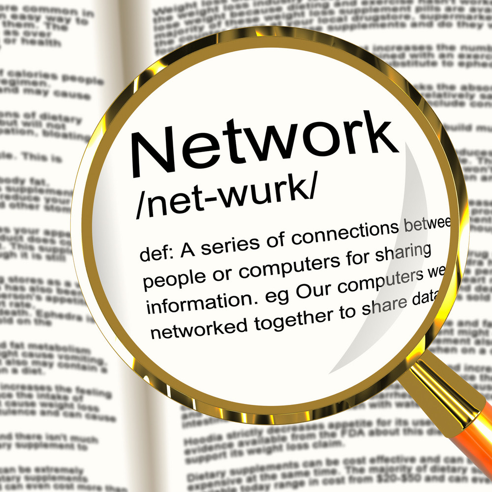 Network Definition Magnifier Showing System Of Computers Or People Connected