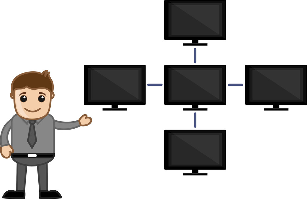 Networking Via Server And Client Computers  - Business Cartoon Characters Vector