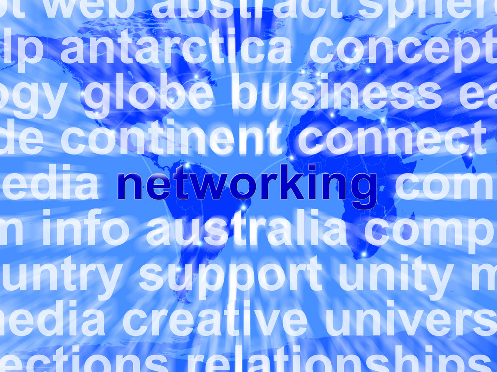 Networking Word Over World Background Showing Relationships And Communication