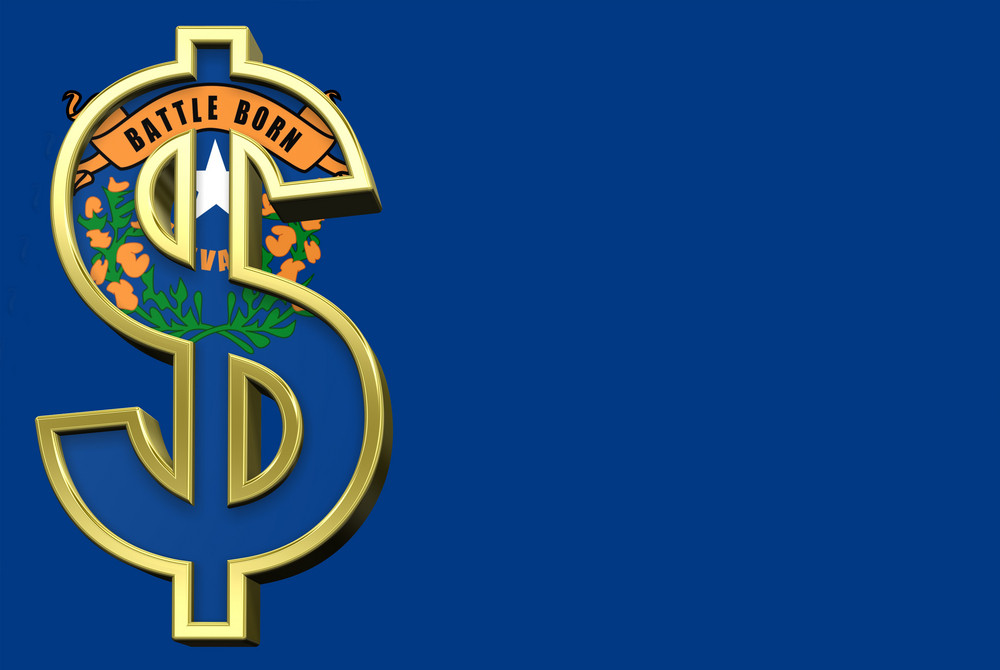 Nevada Flag With Dollar Sign.