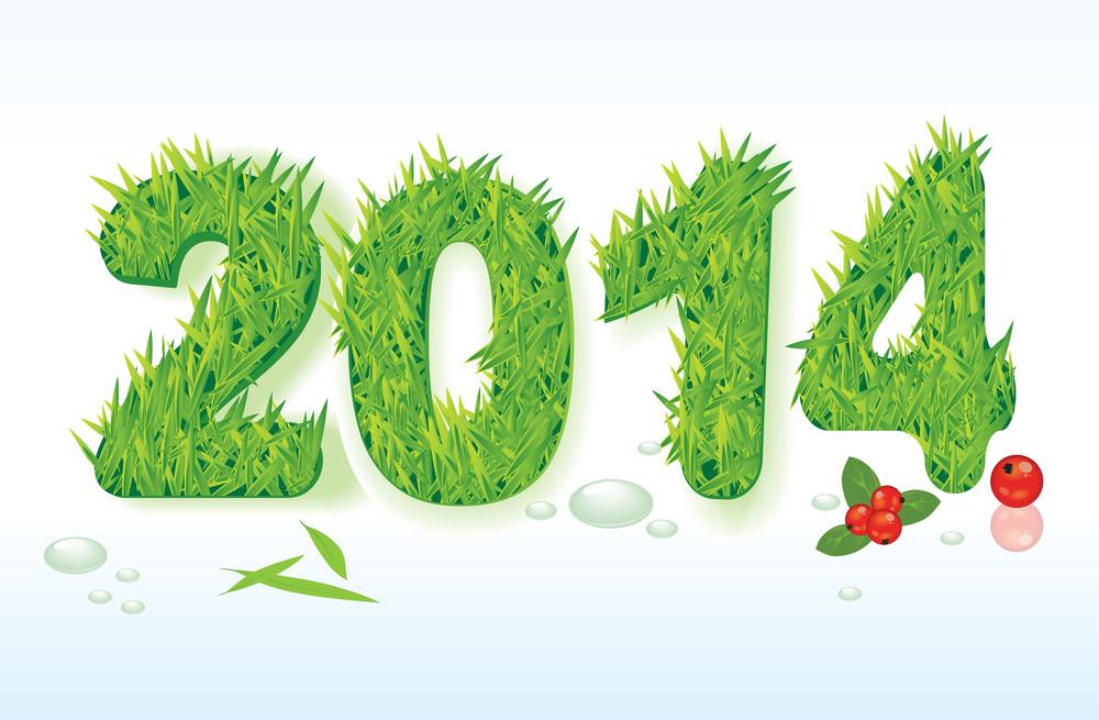 New 2014 Green Natural Year. Vector.