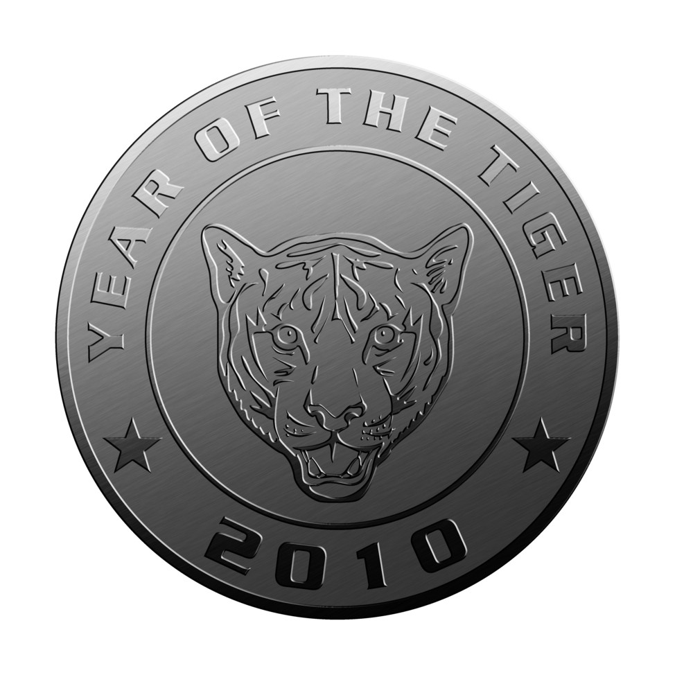 New Year 2010 Year Of The Tiger Silver Coin