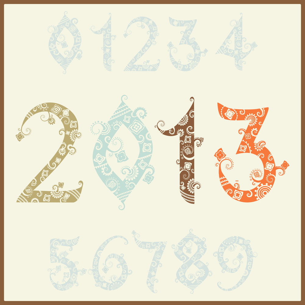 New Year 2013 (two Thousand And Thirteen). Set Of Stylized Numbers