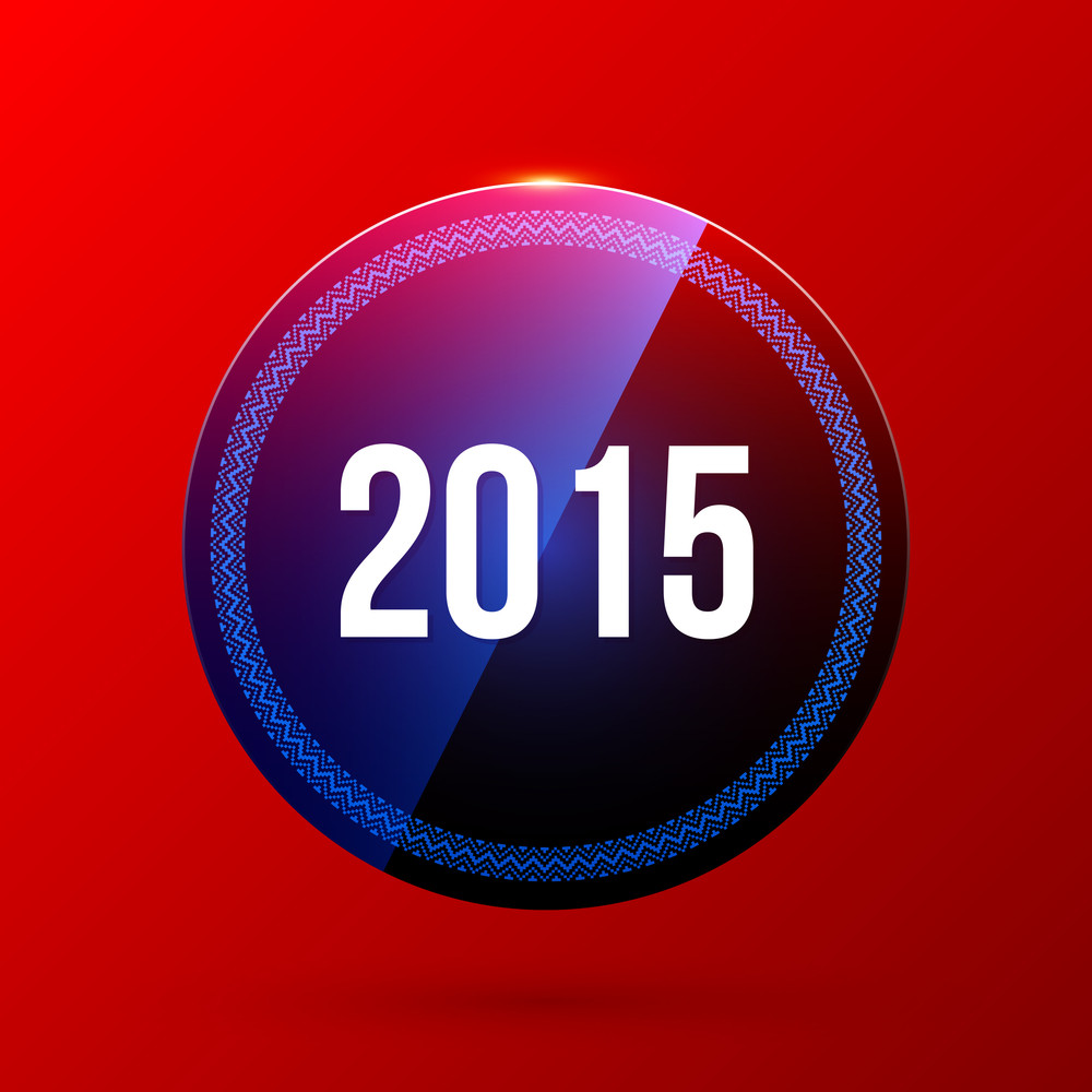 New Year Label On Bright Red Background. Eps10