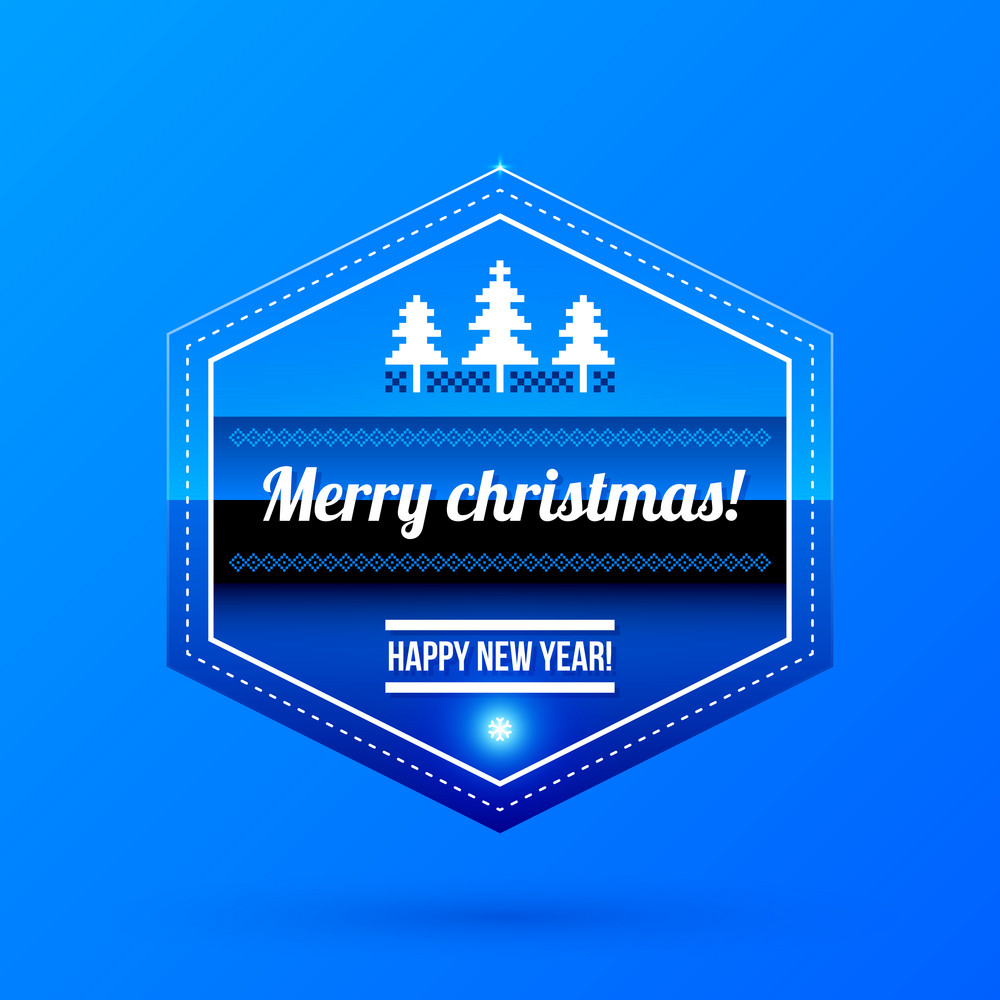 New Year And Christmas Label On Blue Background