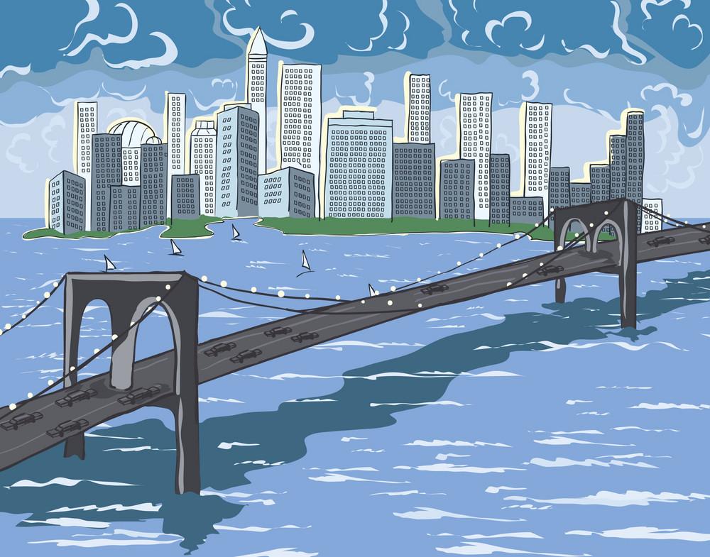 New York Cartoon Background Vector Illustration