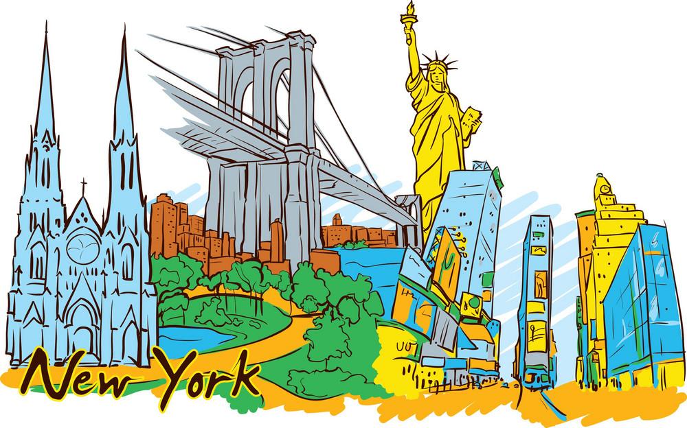 New York Vector Doodle