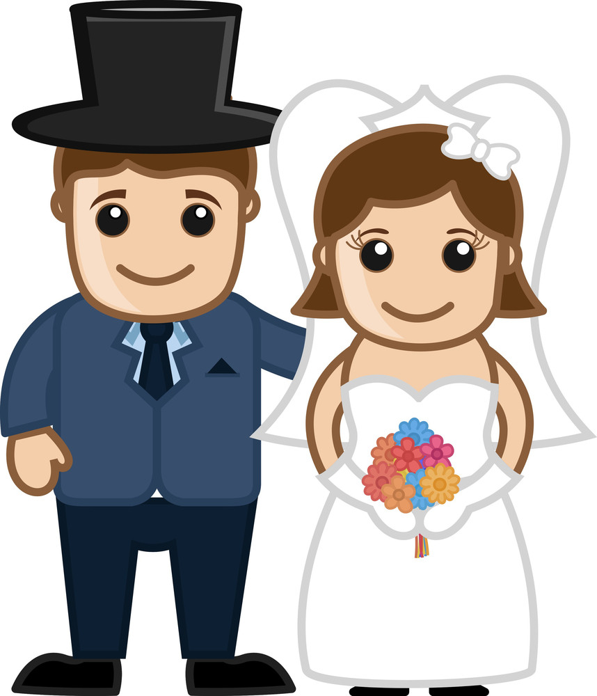 Newly Weds Couple - Vector Character Cartoon Illustration