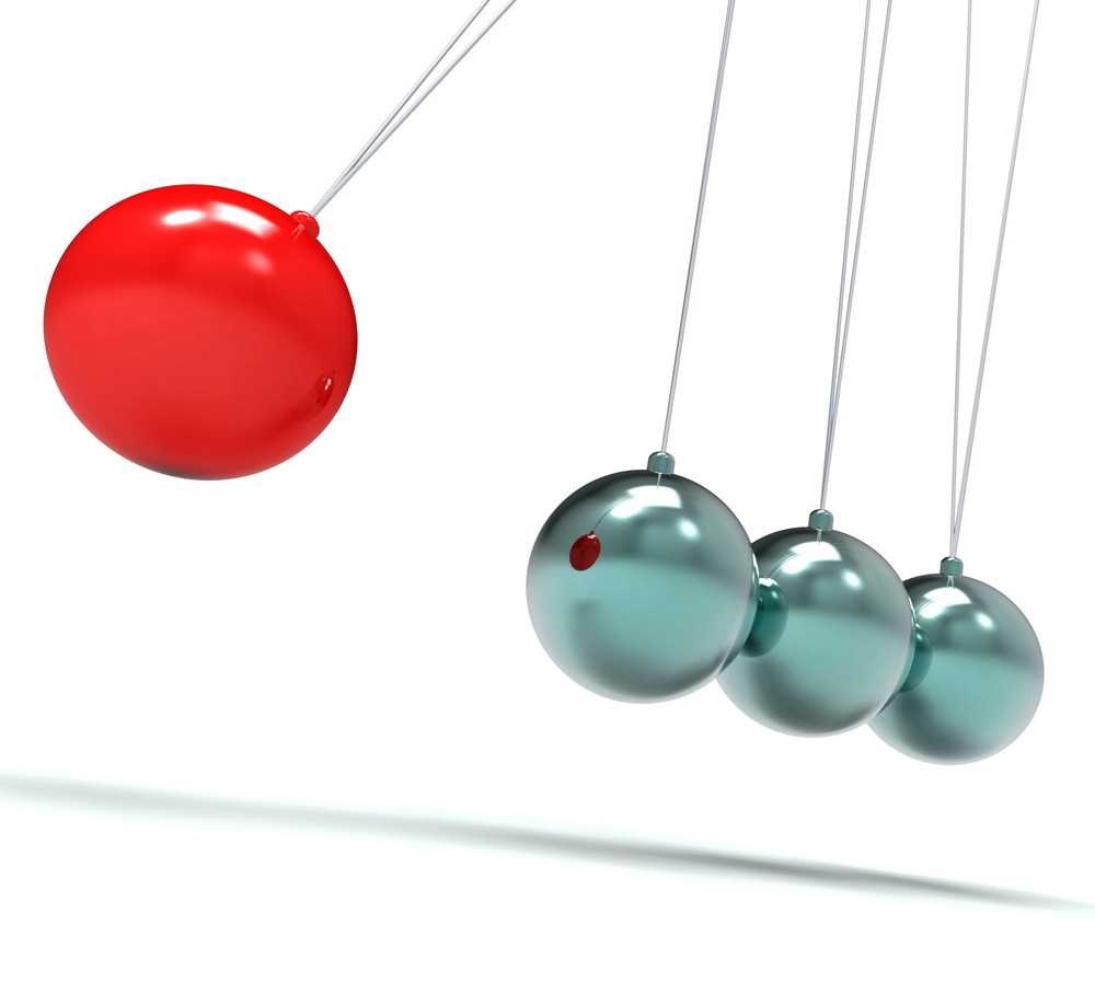 Newton Cradle Showing Energy And Action