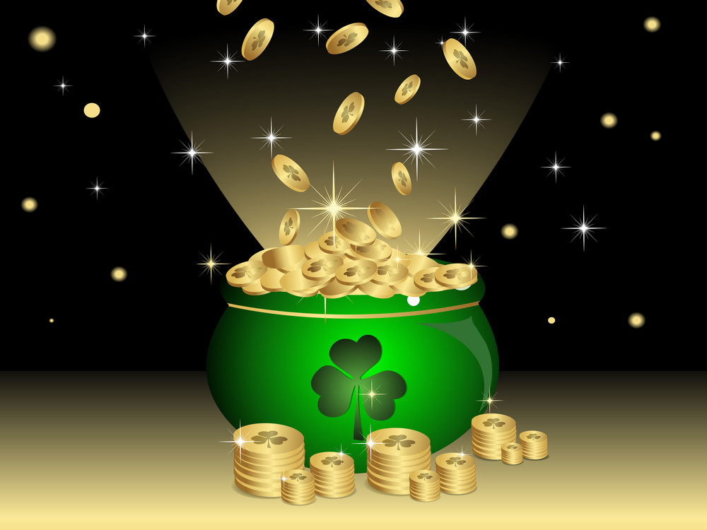 Night Background With Cauldron Having Gold Coins  For St. Patrick's Day.