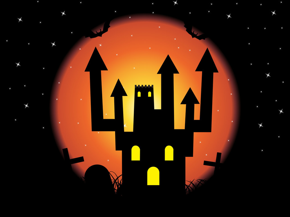 Night Background With Scary House