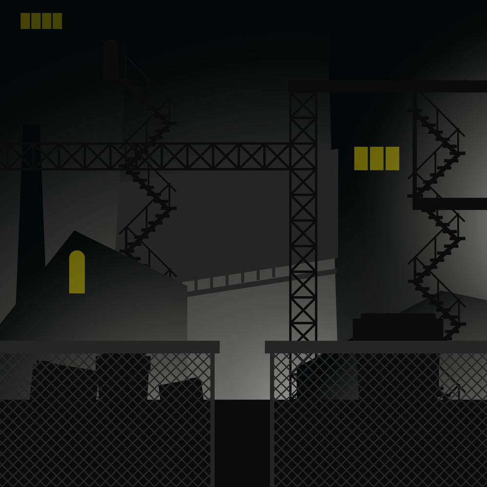Night Retro Urban Industrial Vector Background.