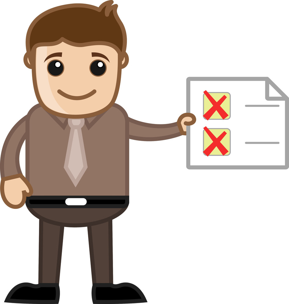 No Work Done Yet - Showing Checklist - Cartoon Business Character