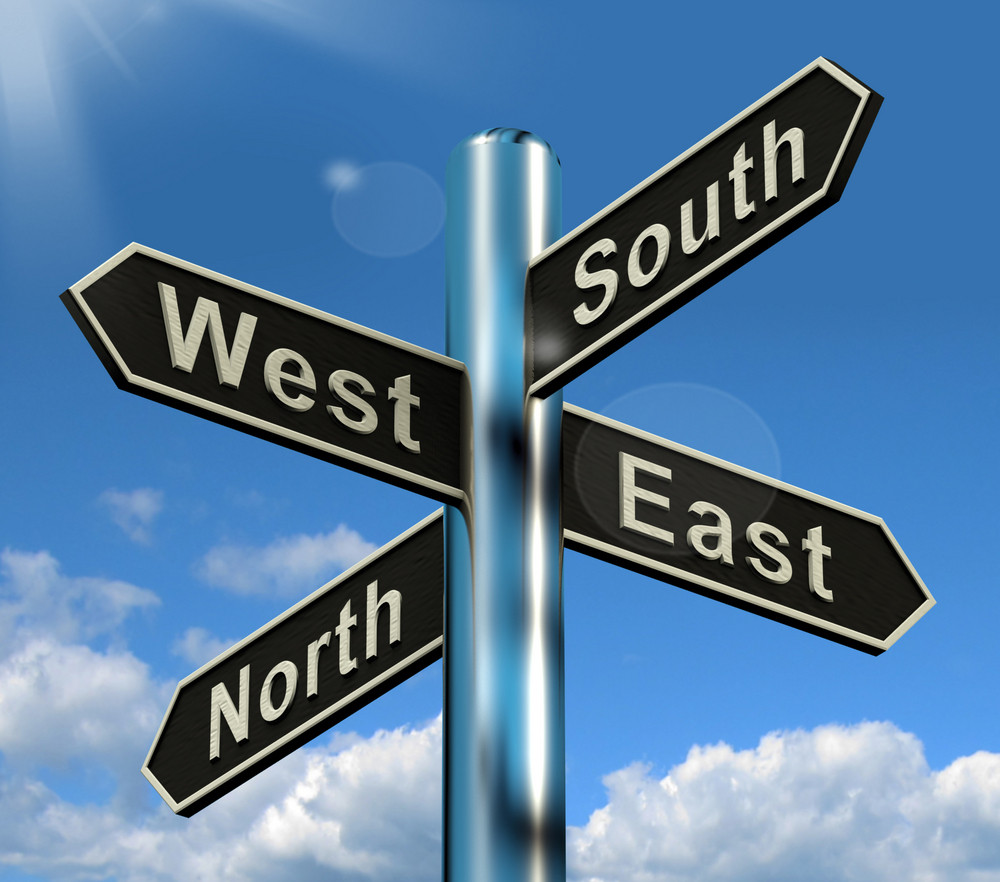 North East South West Signpost Shows Travel Or Direction