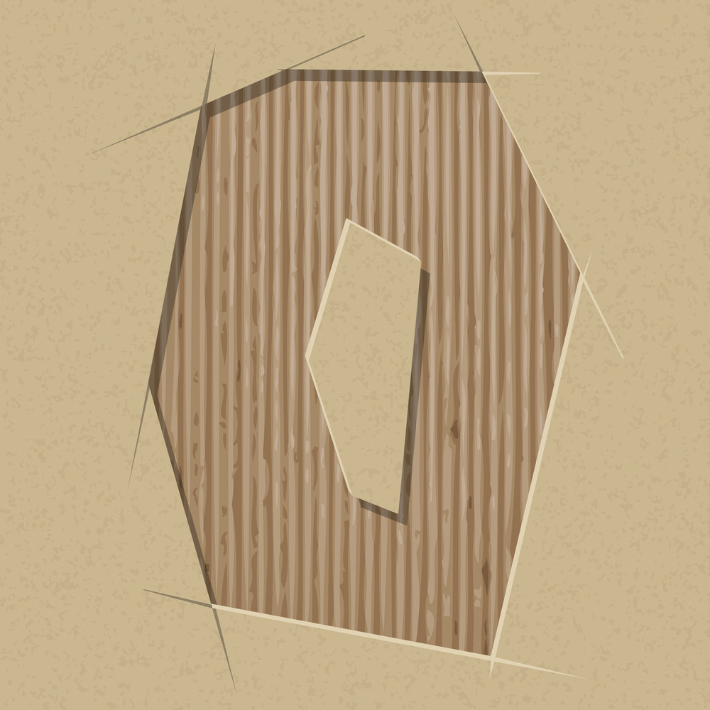 Number 0 Cut Out On A Cardboard. Vector Paper Alphabet