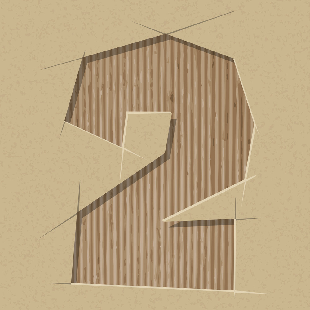 Number 2 Cut Out On A Cardboard. Vector Paper Alphabet