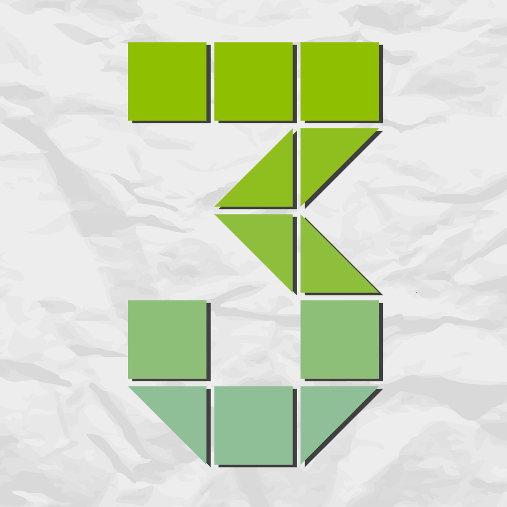 Number 3 From Squares And Triangles On A Paper-background. Vector Illustration
