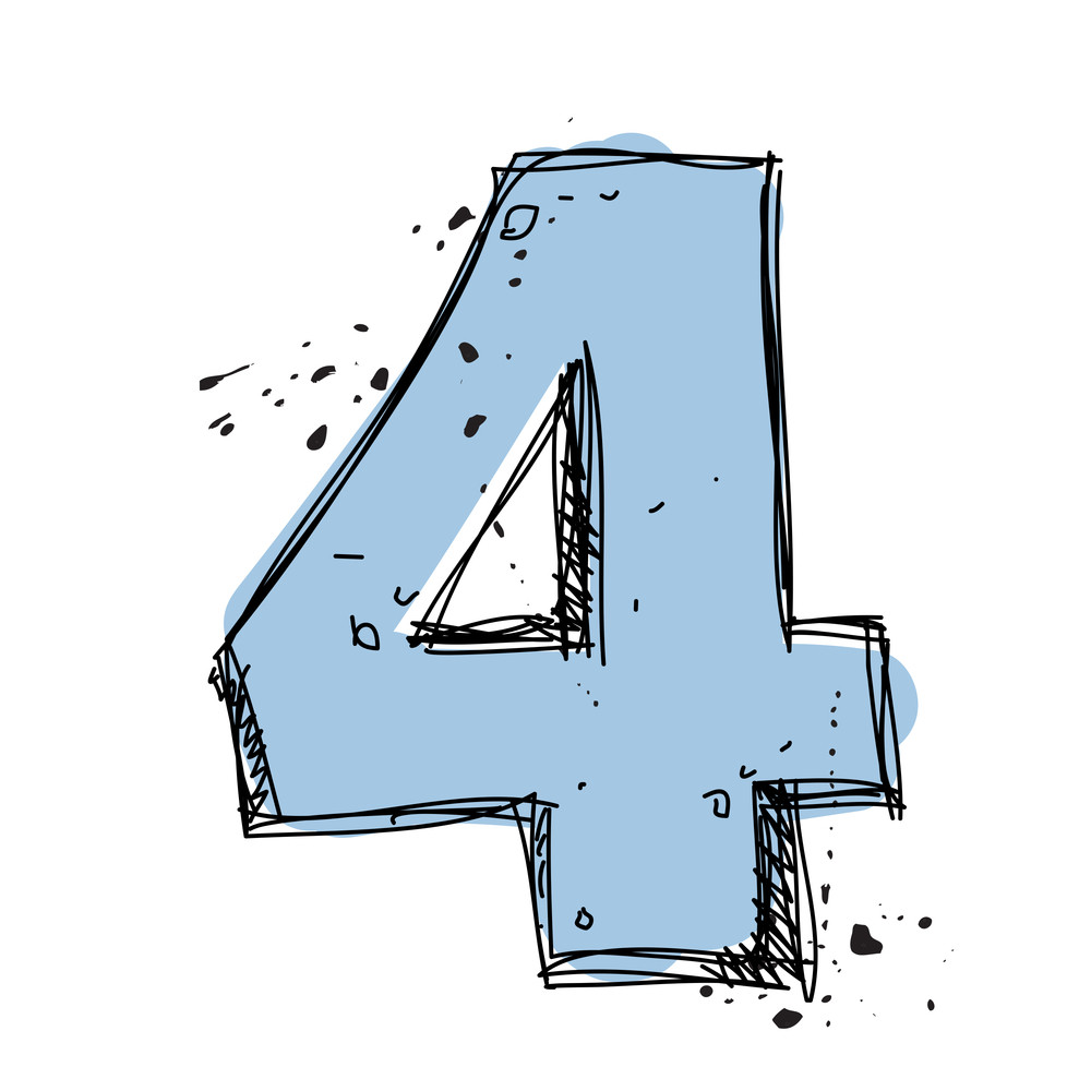 Number 4 In Sketch-style. Vector Illustration