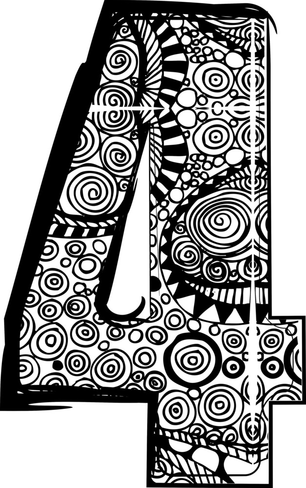 Number 4 With Abstract Drawing. Vector Illustration