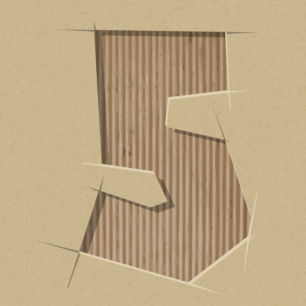 Number 5 Cut Out On A Cardboard. Vector Paper Alphabet