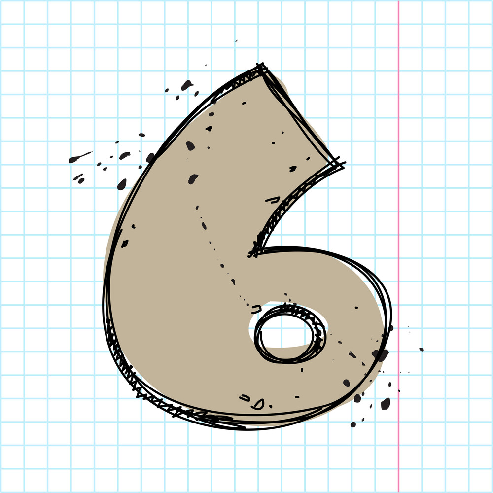 Number 6 In Sketch-style. Vector Illustration