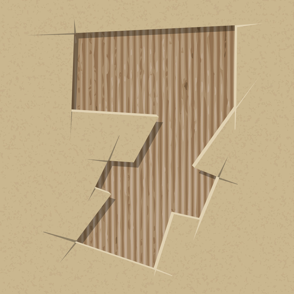 Number 7 Cut Out On A Cardboard. Vector Paper Alphabet