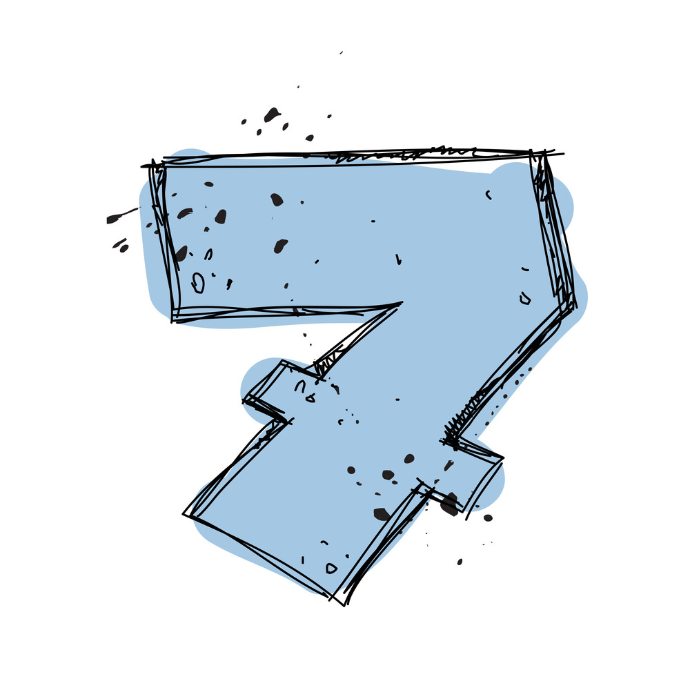 Number 7 In Sketch-style. Vector Illustration