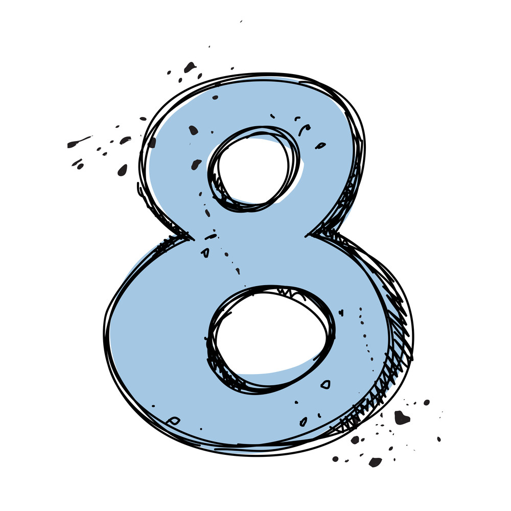 Number 8 In Sketch-style. Vector Illustration
