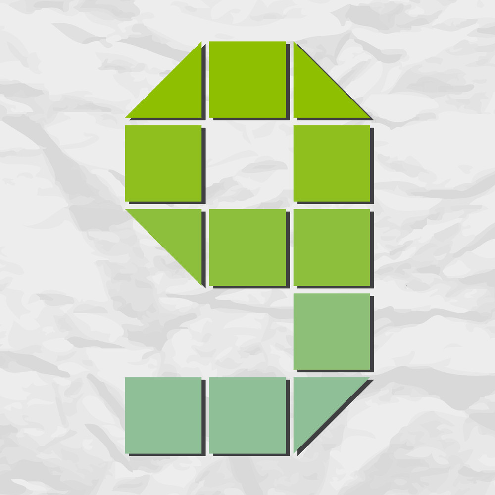 Number 9 From Squares And Triangles On A Paper-background. Vector Illustration