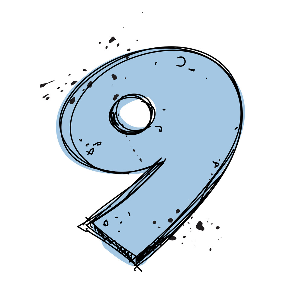 Number 9 In Sketch-style. Vector Illustration