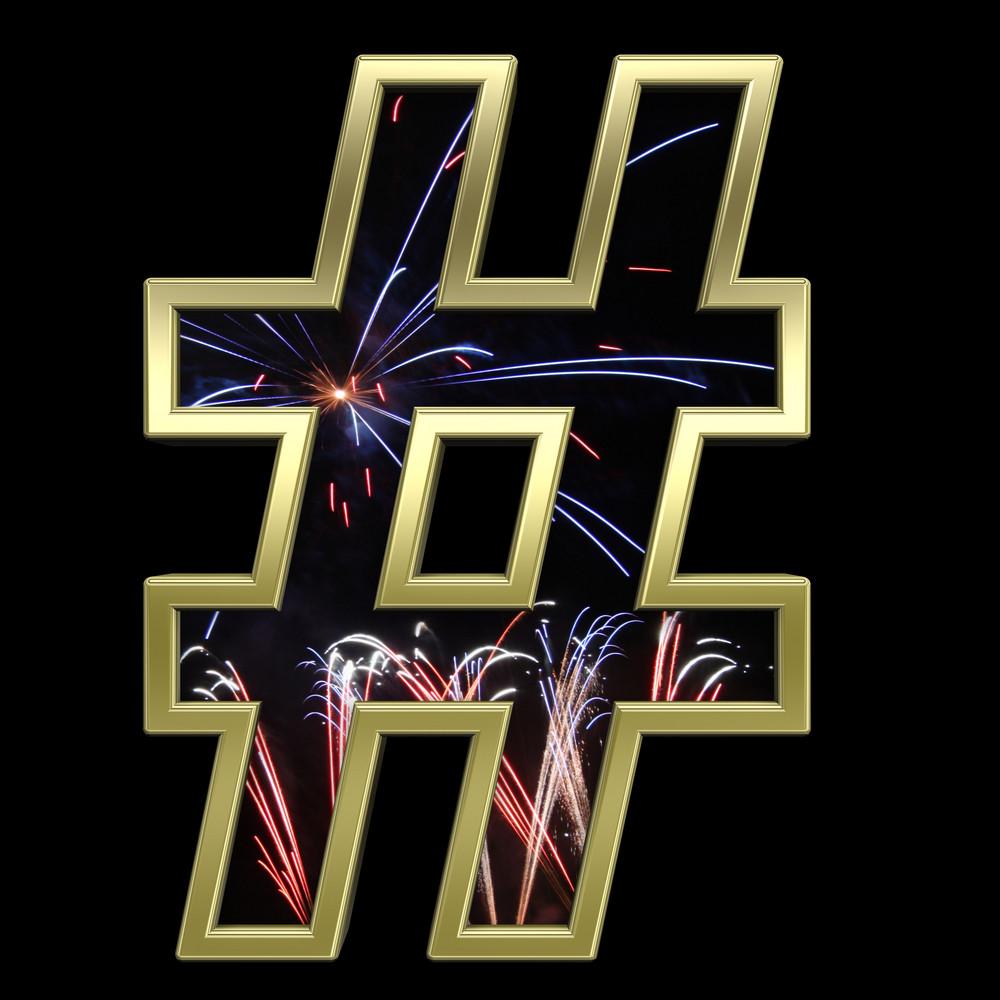 Number Mark From Firework With Gold Frame Alphabet Set