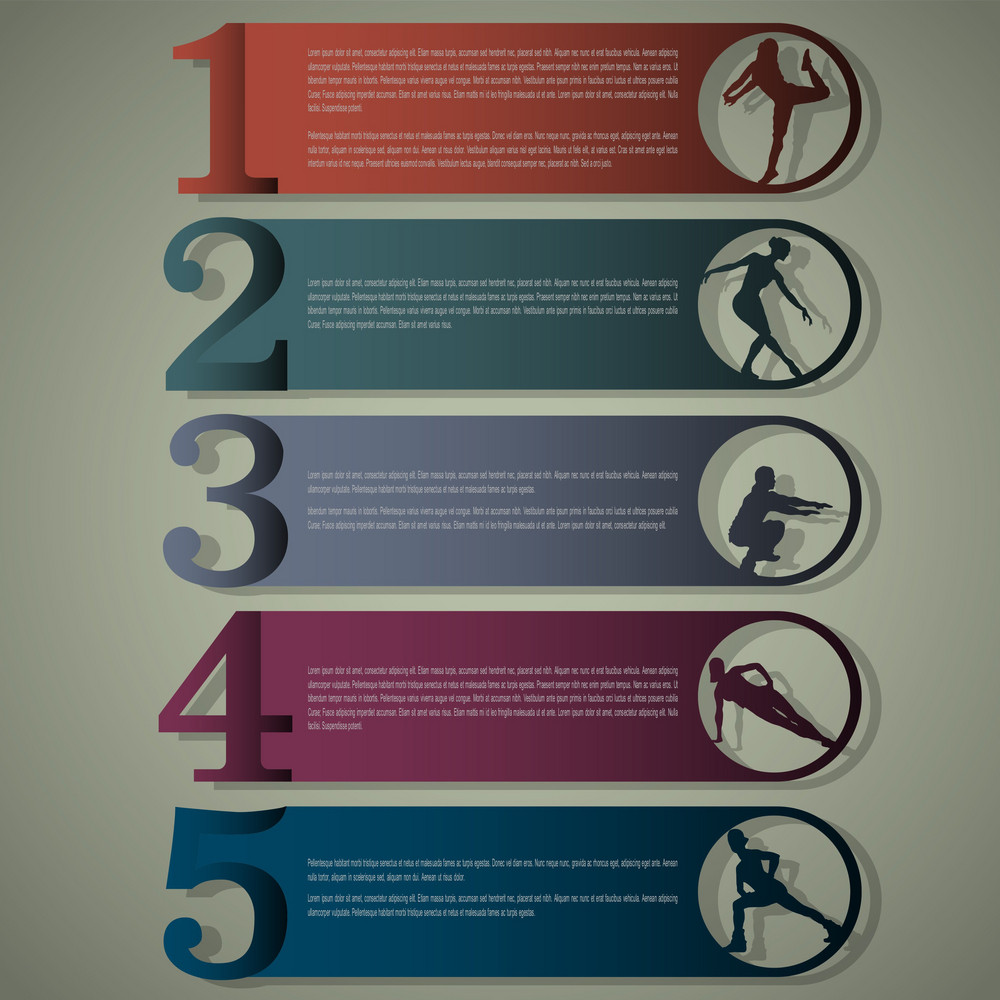 Numbered Lines With Fitness Silhouettes