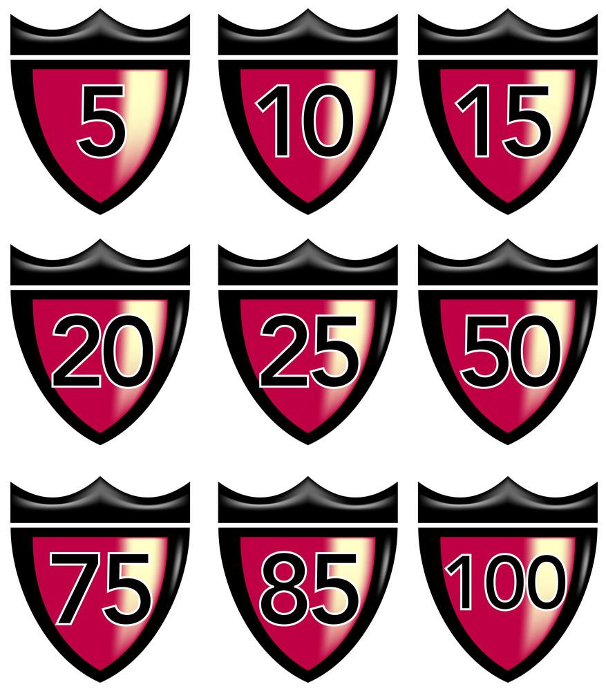 Numbers Shield Crown Retro