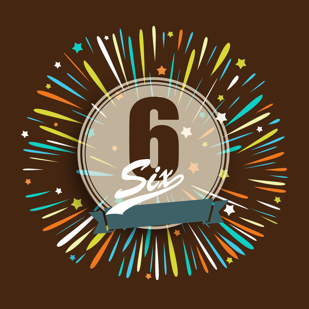 Numeric Text Six On Colorful With Stars On Brown Background.