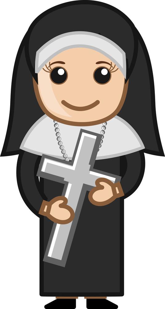 Nun Holding Holy Cross - Vector Character Cartoon Illustration