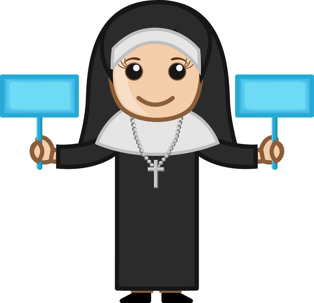Nun Holding Two Banners Vector