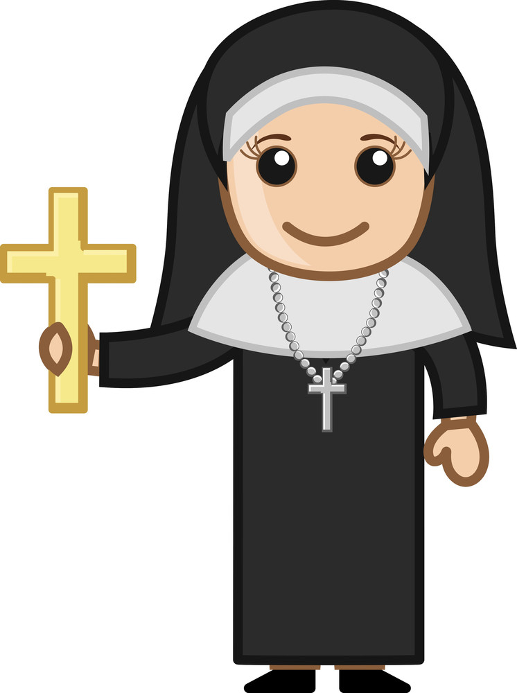 Nun With Golden Cross - Vector Character Cartoon Illustration