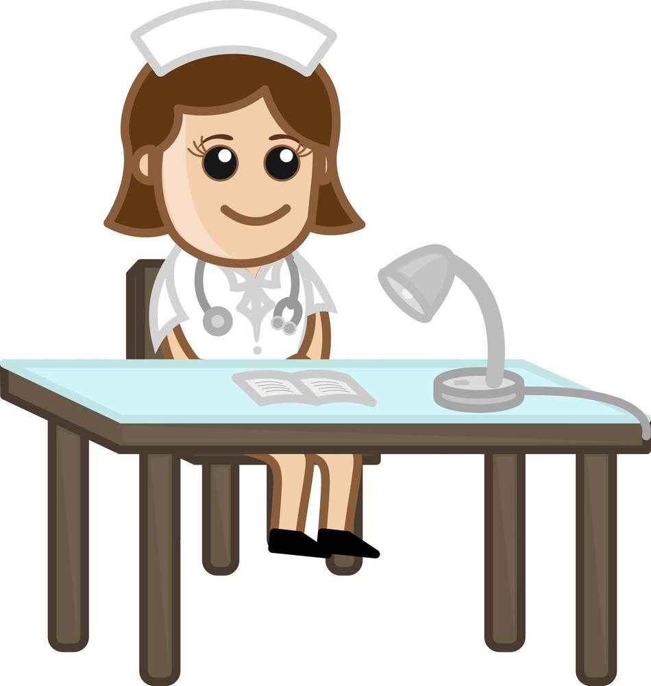 Nurse On Reception - Medical Cartoon Characters