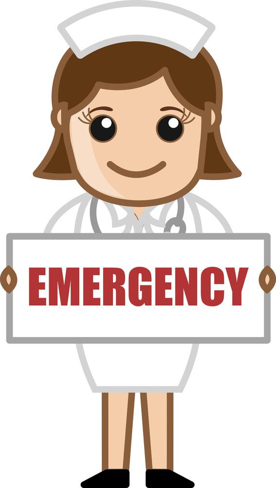 Nurse Showing Emergency Banner - Doctor & Medical Character Concept