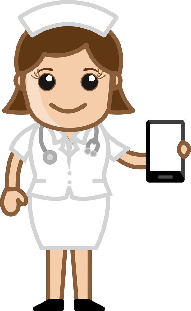 Nurse Showing Presentation - Doctor & Medical Character Concept