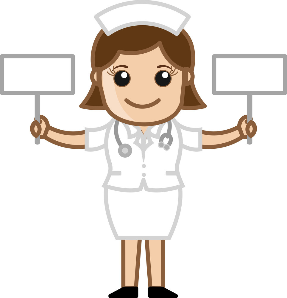 Nurse With Two Blank Banners - Doctor & Medical Character Concept