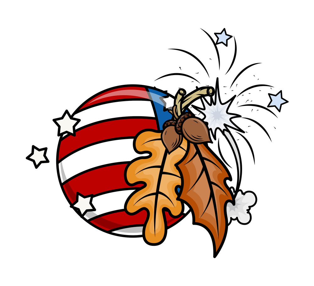 Oak Nuts Leaves Usa Flag Globe Vector